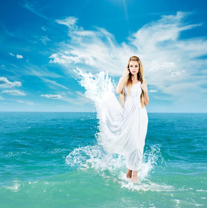 Aphrodite Styled Woman in Splashing Dress Walking on Water. Ancient Greek Goddess Collage.